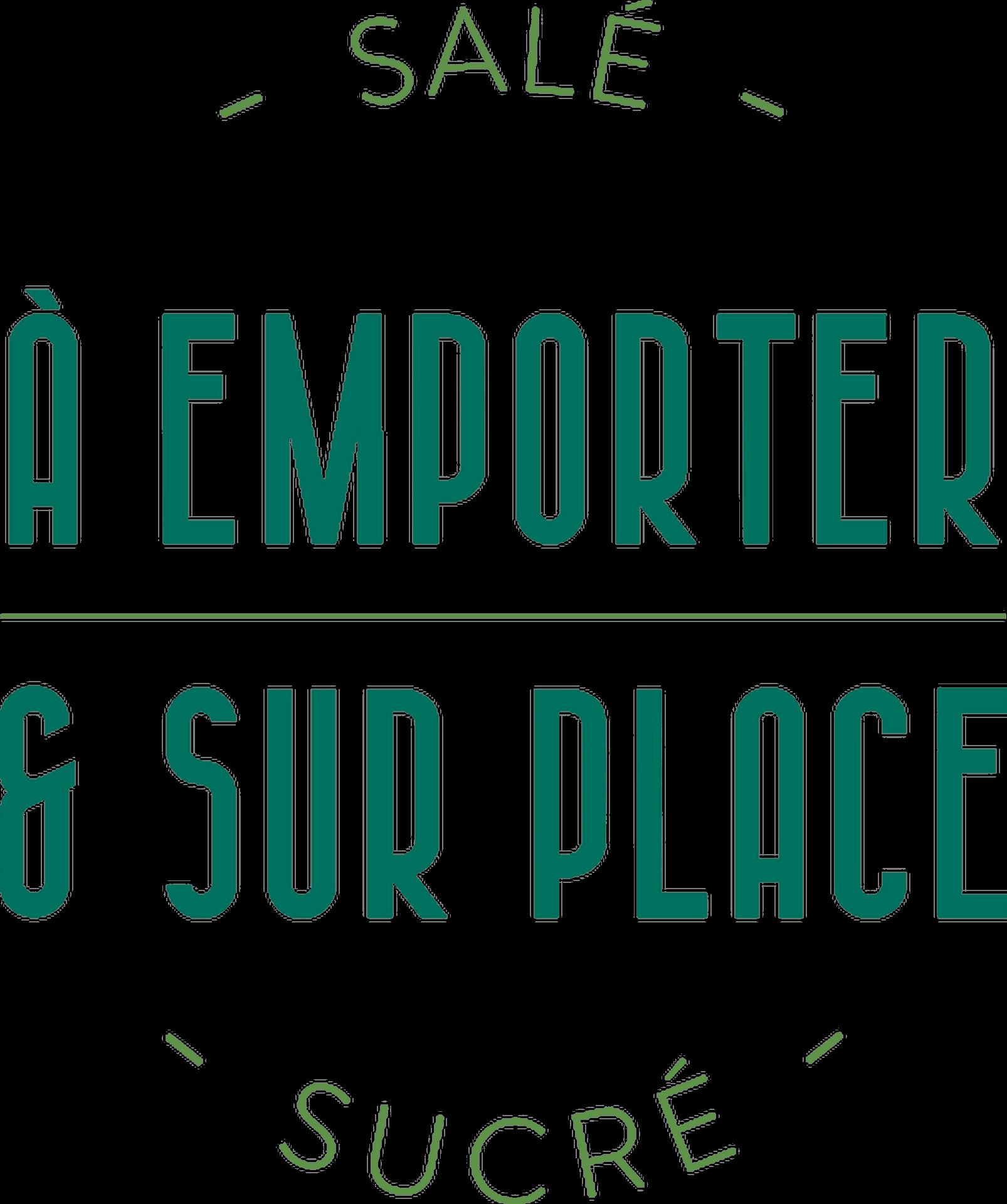 lettrage et composition typographique pour le service à emporter