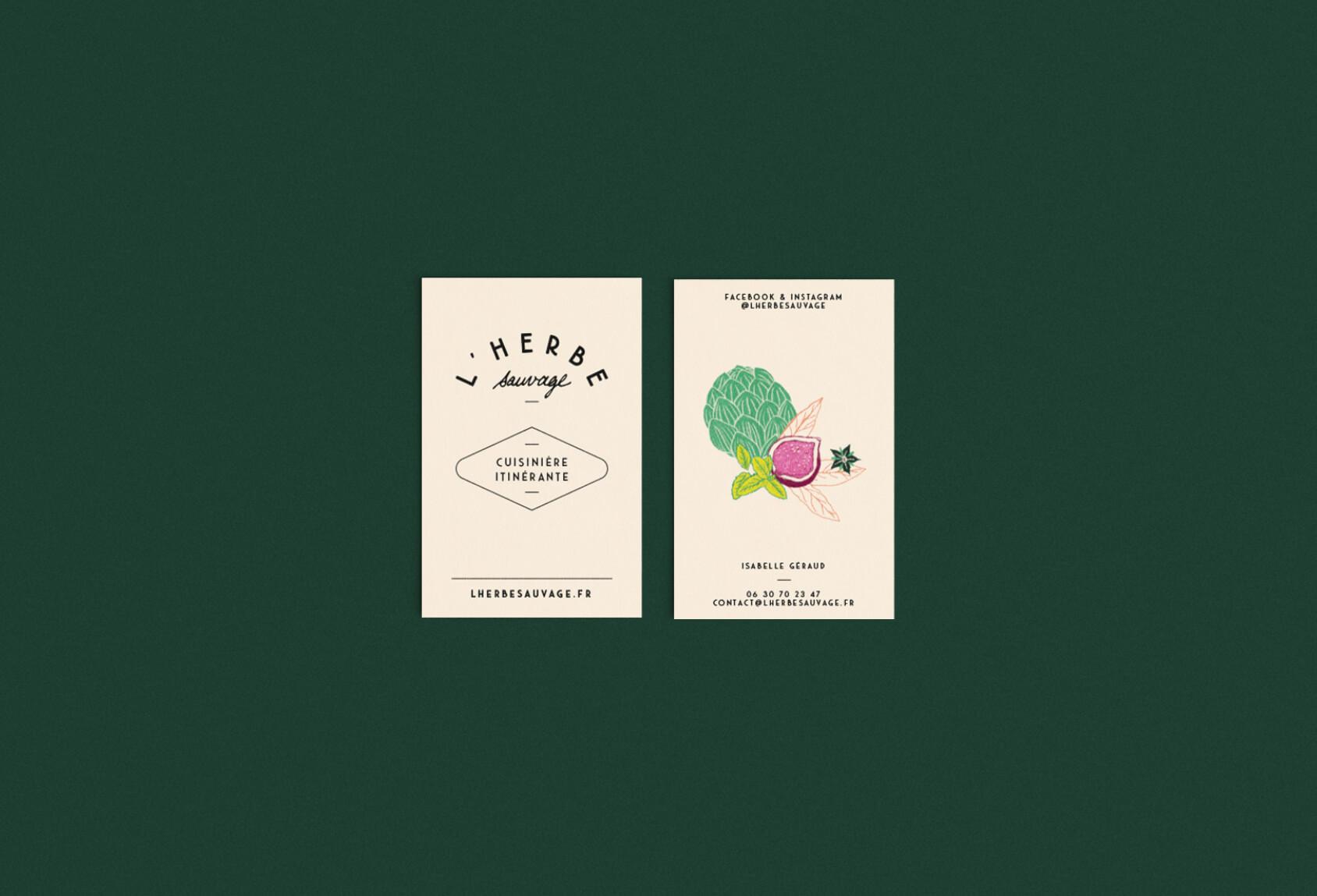 carte de visite de l'herbe sauvage, cuisinière itinérante