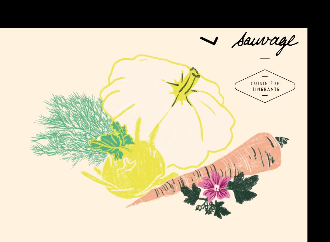 illustration pour le restaurant à domicile l'herbe sauvage