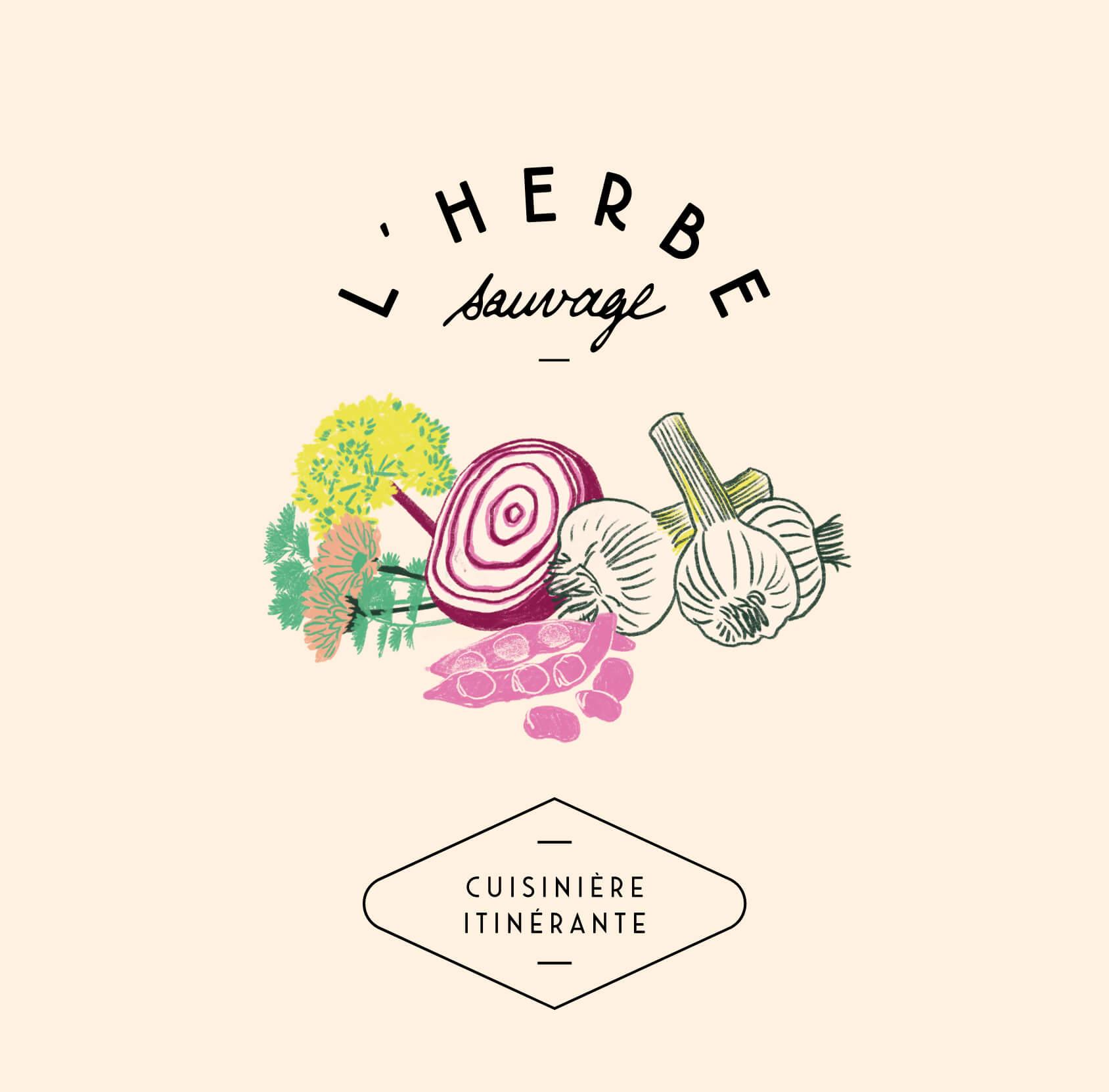 """logotype et illustration pour la cuisinière à domicile """"l'herbe sauvage"""""""