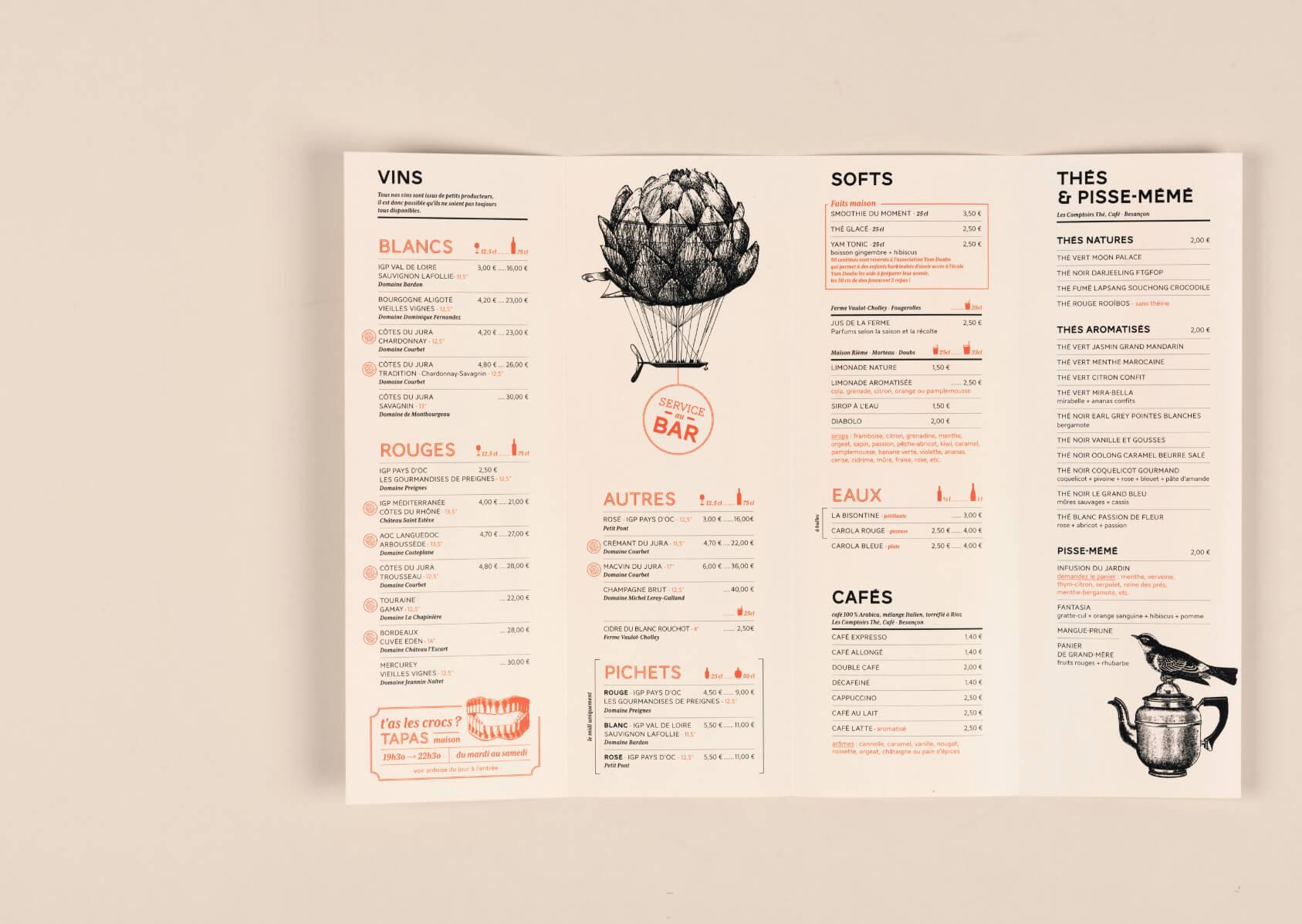 carte des boissons du bar le tandem a Besançon