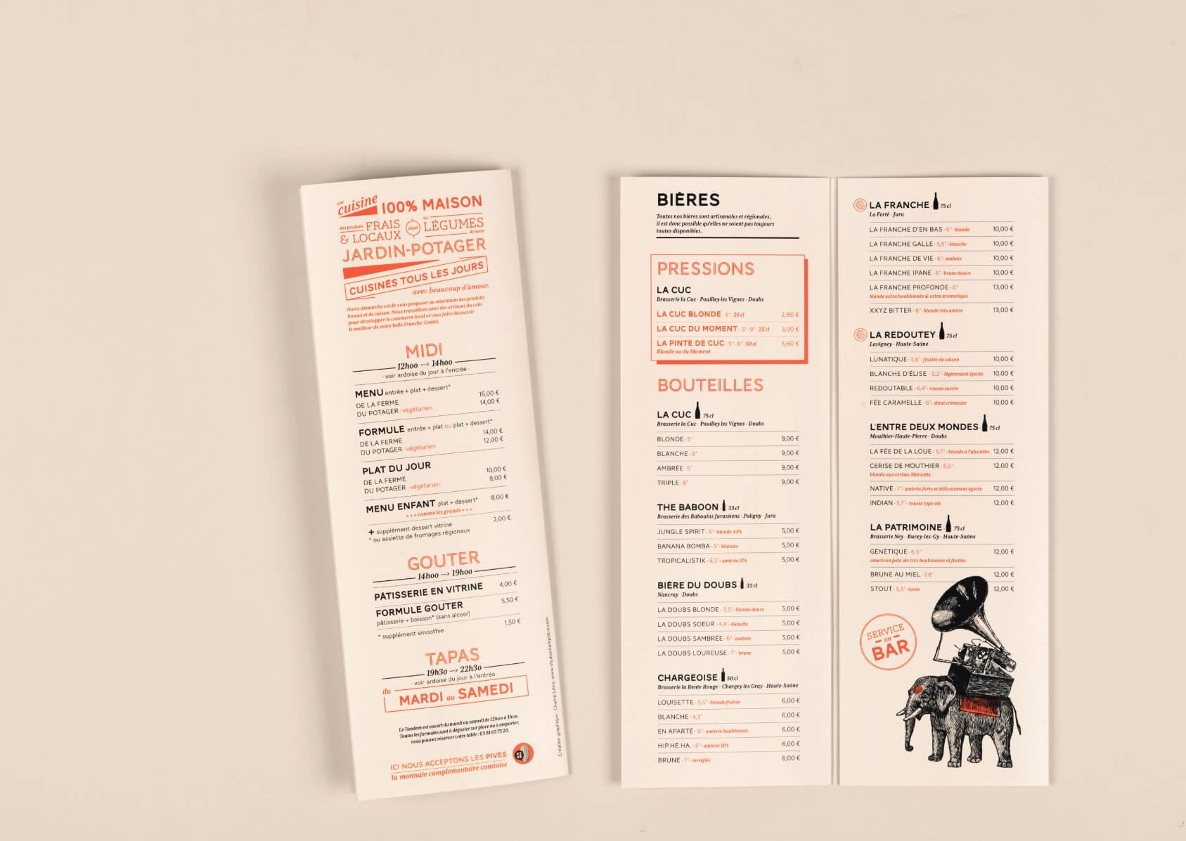 menu du tandem, bar et restaurant