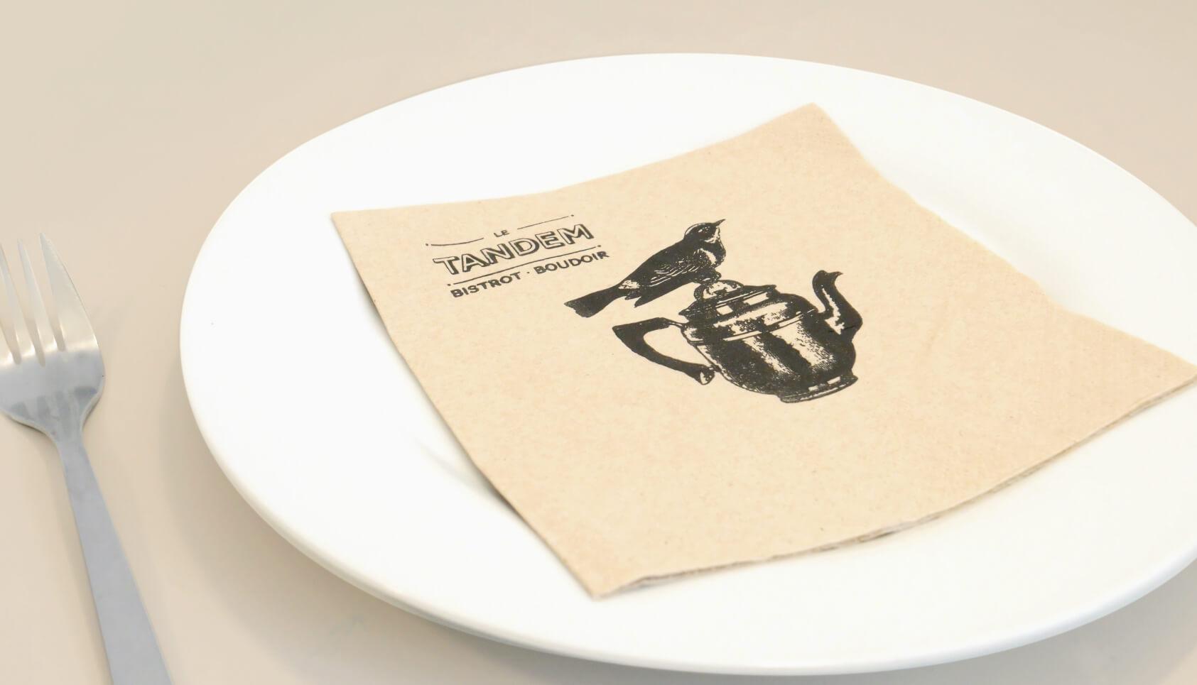 serviettes en papier branding restaurant