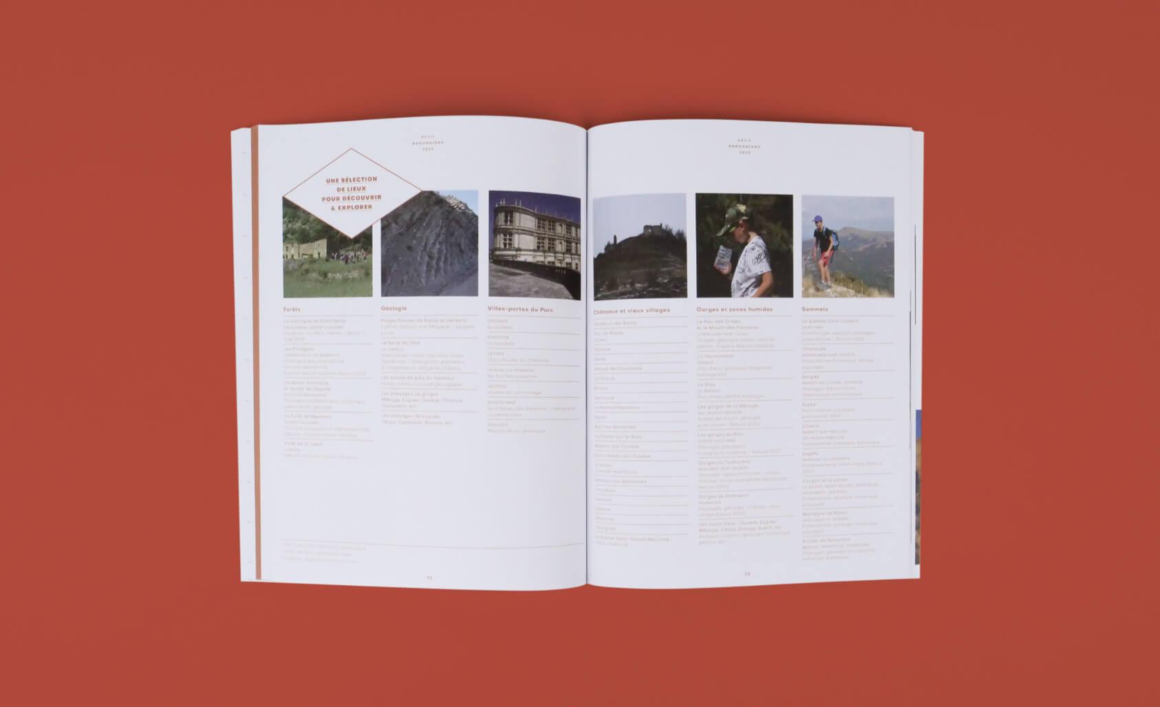 design editorial pour le magazine pedagogique du parc naturel regional des baronnies provençales