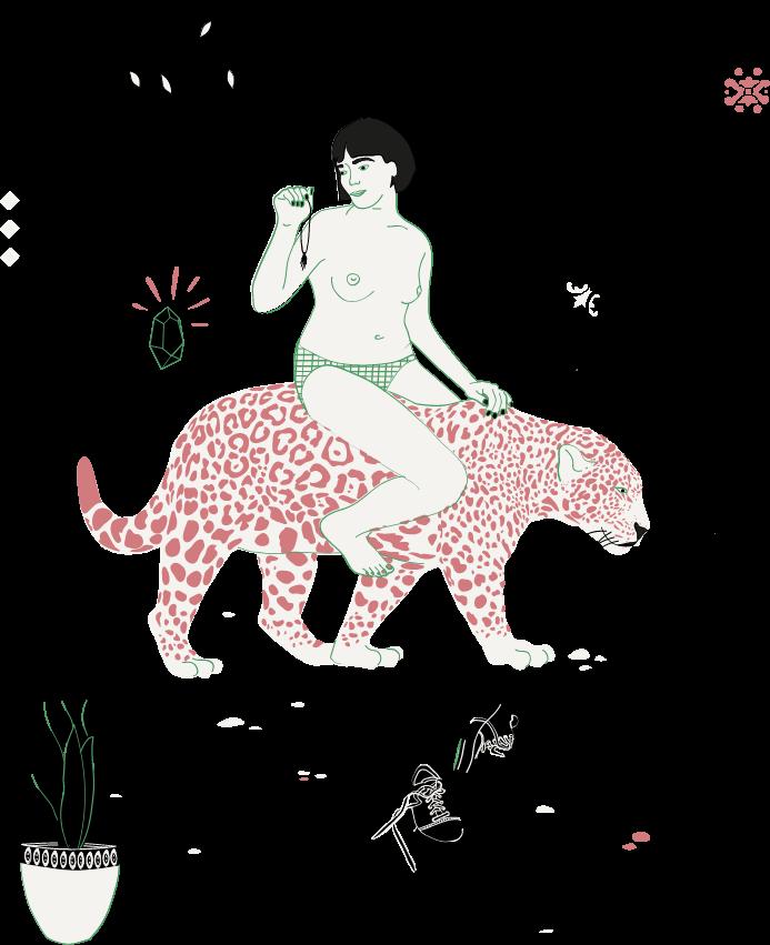 illustration femme panthère mélitine bijoux