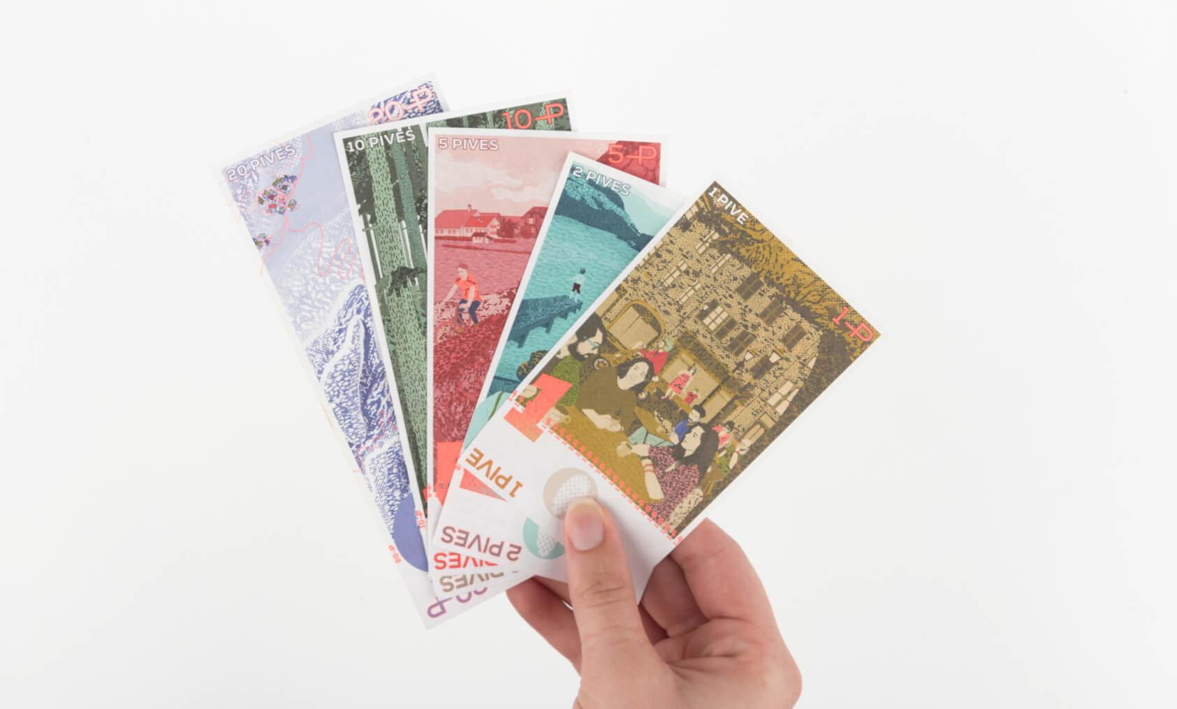 graphisme des billets de la pive, monnaie locale franc-comtoise