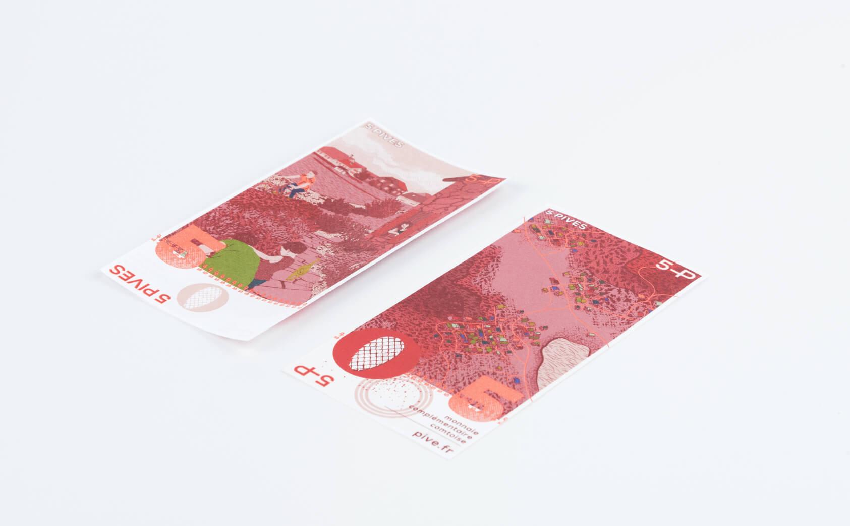 Dessin des billets de la pive, monnaie locale comtoise.