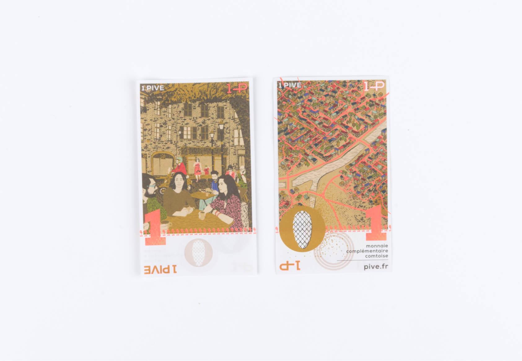 Design graphique de billets de 1 pive